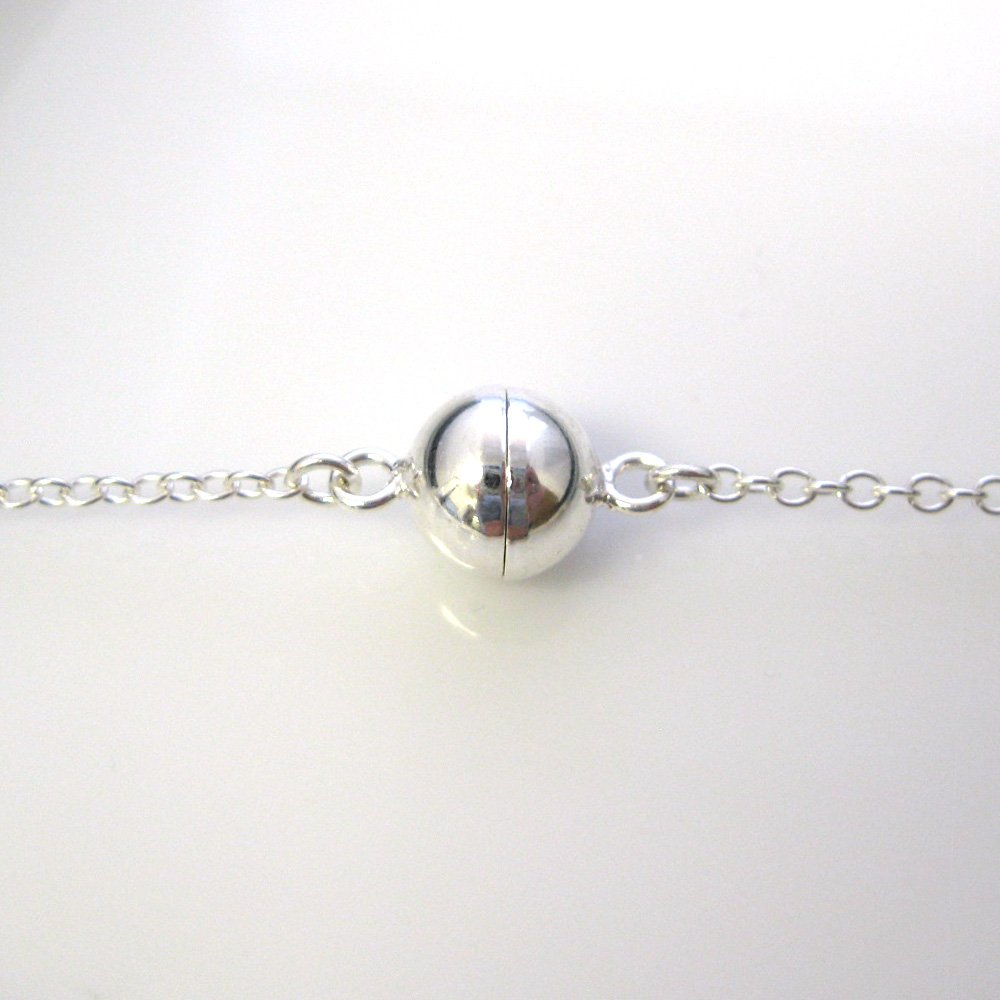 Sterling Silver Magnetic Clasp Ball Shaped Closed