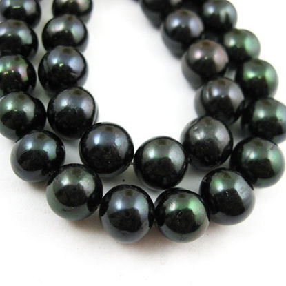 Wholesale Freshwater Pearls 9.5-10mm Round Black Color  - June Birthstone (Sold Per Strand)