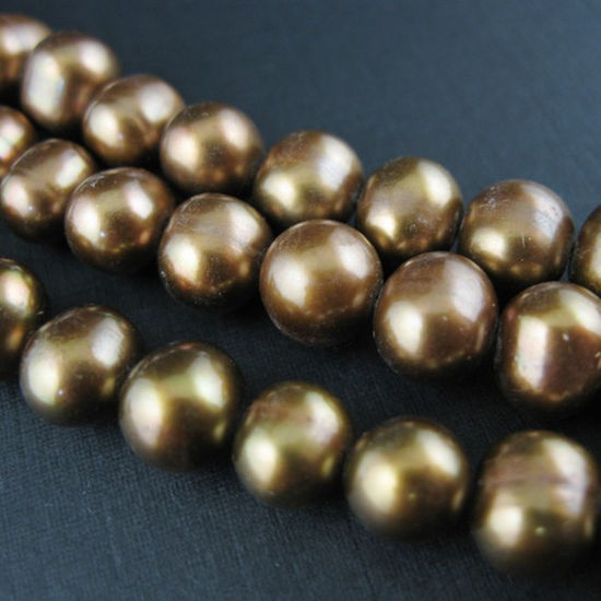 Wholesale Olive Green Round Freshwater Pearls, 7-8mm, Grade B - June Birthstone (Sold Per Strand)