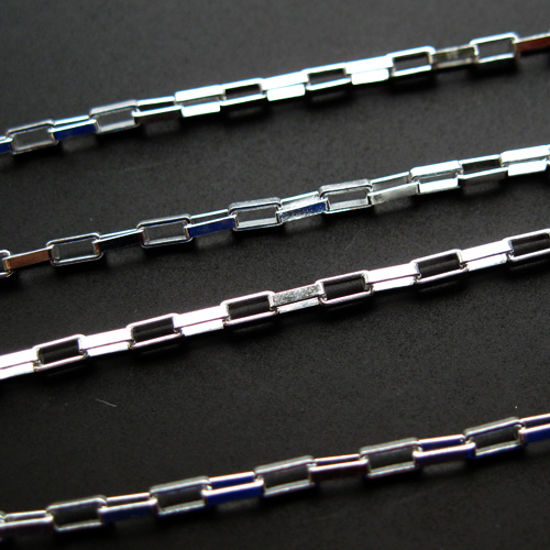 Wholesale chains, 925 Sterling Silver Small Rectangle Box Chain 3.2x1.7mm, Bulk Chain by the foot