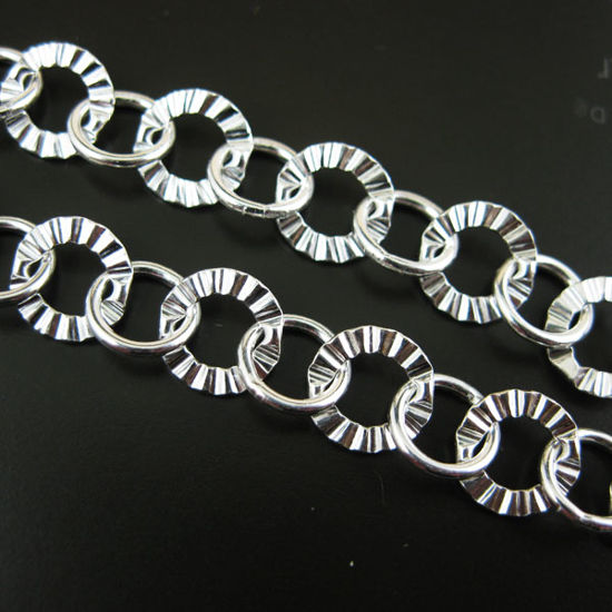 Wholesale Chain, 925 Sterling Silver Textured and Smooth Circle Link, Bulk Chain by the foot