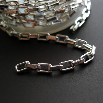 Wholesale chains, 925 Sterling Silver Heavy Box Chain 4.5x2.5mm Rectangle Links, Bulk Chain by the foot