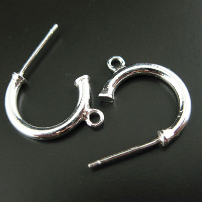 Wholesale Sterling Silver C Shaped Hoop with Ring  for Jewelry Making, Wholesale Earwire and Findings