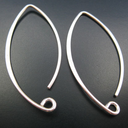Wholesale 925 Sterling Silver Marquise Ear wire - 35mm (1 pair)