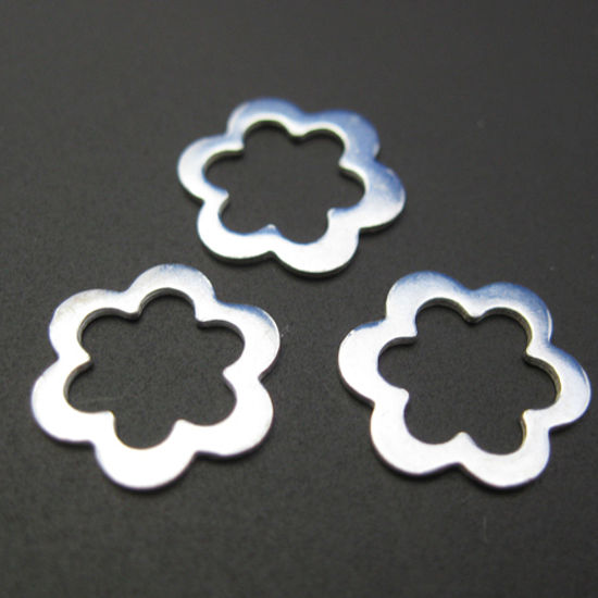 Wholesale Sterling Silver Sweet Flower Connector Charm, Charms and Pendants for Jewelry Making, Wholesale Findings
