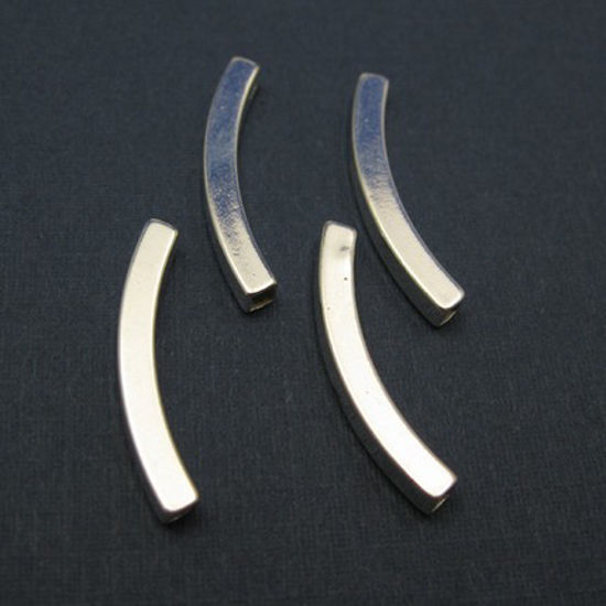 Wholesale Sterling Silver Curved Squared Tube Bar Spacer 23mm  for Jewelry Making, Wholesale Beads and Findings