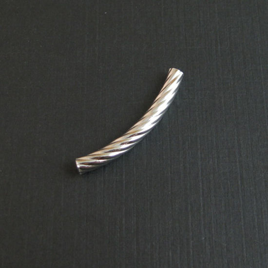 Wholesale Sterling Silver Curved Textured Tube Bar Spacer 35mm for Jewelry Making, Wholesale Beads and Findings