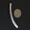 Wholesale Sterling Silver Curved Textured Tube Bar Spacer 50mm for Jewelry Making, Wholesale Beads and Findings