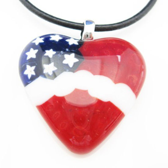 Wholesale Lampwork Bead - American Heart pendant with bail (1pc)