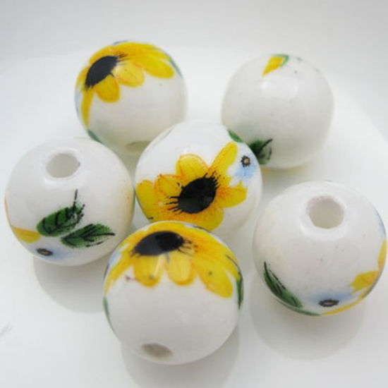 Wholesale Handpainted Pottery Bead 12mm ( 6pcs)