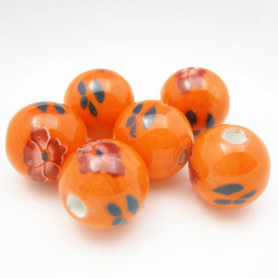 Wholesale Handpainted Pottery Bead 12mm ( 6 pcs )