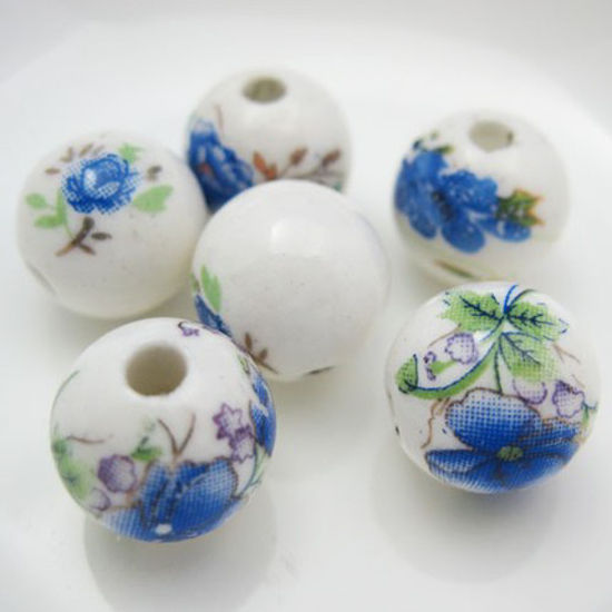 Wholesale Handpainted Pottery Bead 12mm (6 pcs)