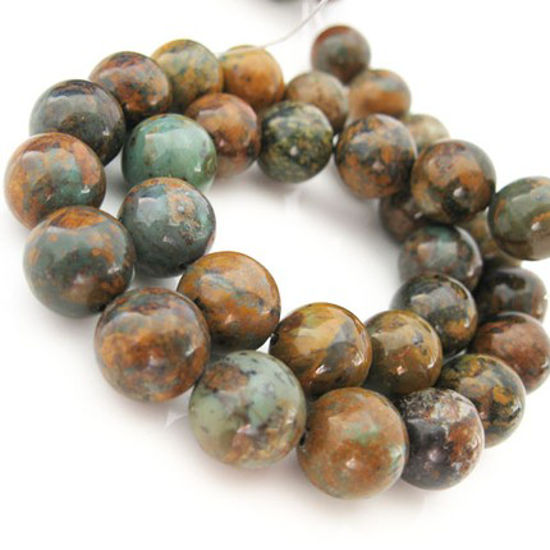 Wholesale Golden Green Turquoise Beads-12mm Round shape (Sold Per Strand)