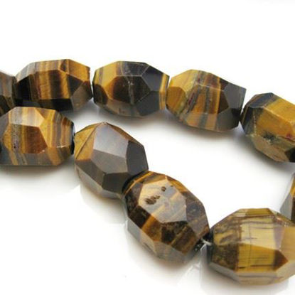 Wholesale Tiger's Eye Beads - 25X18mm Faceted Nugget (Sold Per Strand)