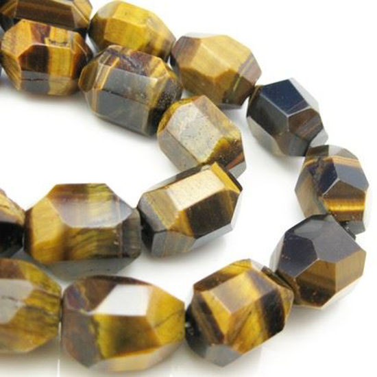 Wholesale Tiger's Eye Beads - 18X14mm Faceted Nuggets (Sold Per Strand)