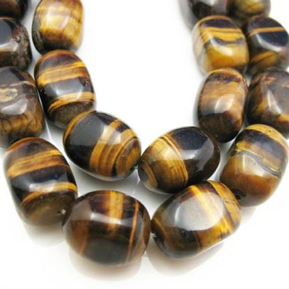 Wholesale Tiger's Eye Beads - 17x12mm Smooth Nugget (Sold Per Strand)