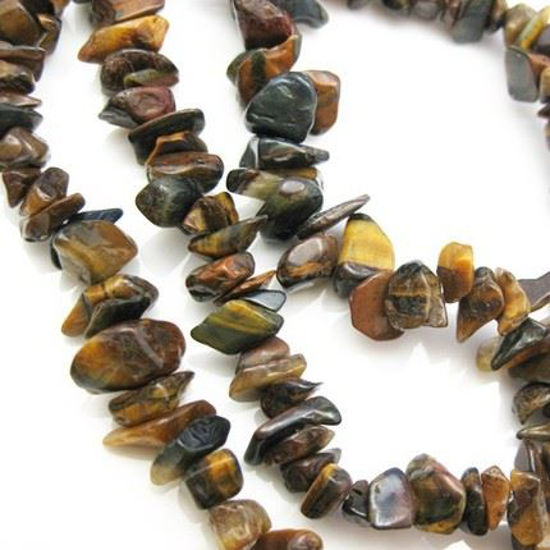 Wholesale Tiger's Eye Natural Stone Chip Beads (Sold Per Strand)