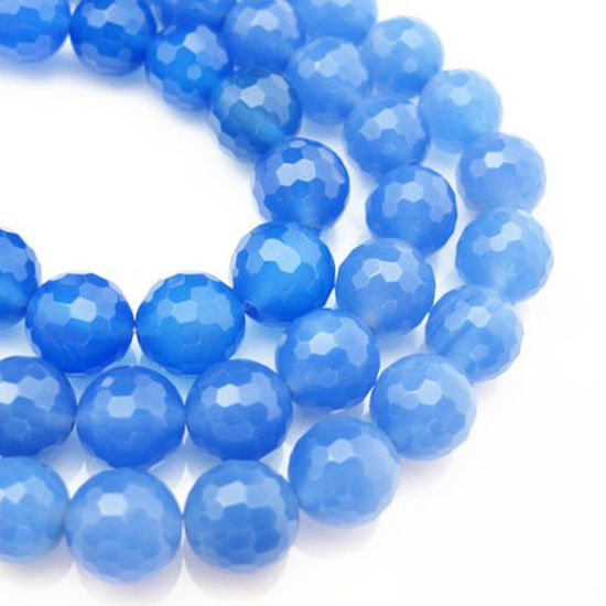 Wholesale Blue Natural Agate Beads -10.5mm Faceted Round (sold per strand)