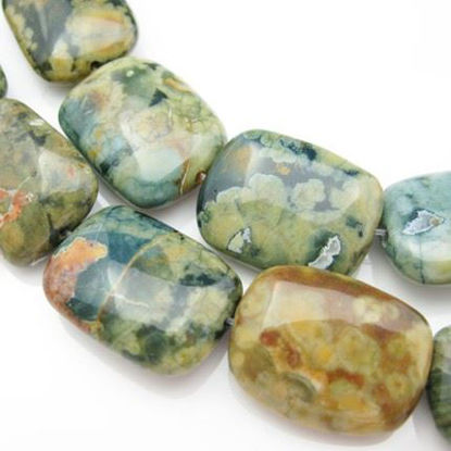 Wholesale Natural Rainforest Jasper Beads - 20x15mm Square Shape (sold per strand)