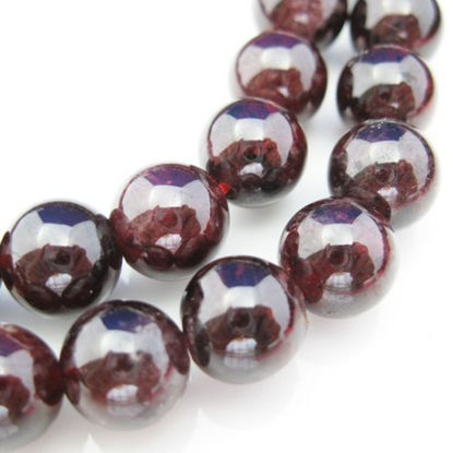 Wholesale Deep Red Wine Natural Garnet - 8mm Smooth Round (sold per strand)
