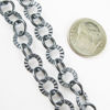 Wholesale Chain, Oxidized Sterling Silver Textured and Smooth Circle Link, Bulk Chain by the foot