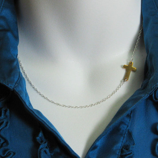 Wholesale Sideways Cross - Sterling Silver Necklace, Two Tone , Off Center