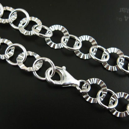 Wholesale Sterling Silver Textured Circle and Smooth Ring Chain, Wholesale Bulk Bracelet Chains