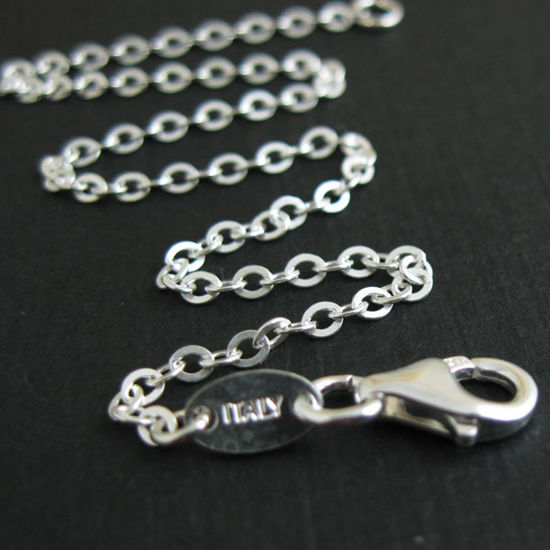 Wholesale Sterling Silver 2.3mm Strong Flat Cable Chain, Wholesale Bulk Necklace Chains