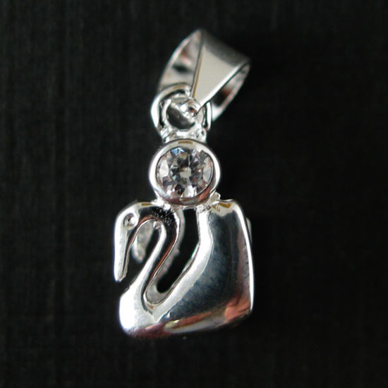 Wholesale Sterling Silver Swam Bail Connector with CZ Cubic Zirconia Stone, Wholesale Findings