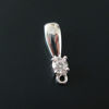 Wholesale Sterling Silver Teardrop Bail Connector with CZ Cubic Zirconia Stone, Wholesale Findings
