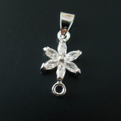 Wholesale Sterling Silver Flower Bail Connector with CZ Cubic Zirconia Stone, Wholesale Findings
