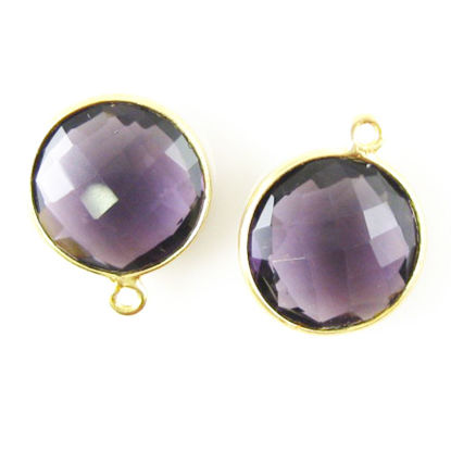 Wholesale Gold plated Sterling Silver Round Bezel  Amethyst Quartz Gemstone Pendant, Wholesale Gemstone Pendants for Jewelry Making