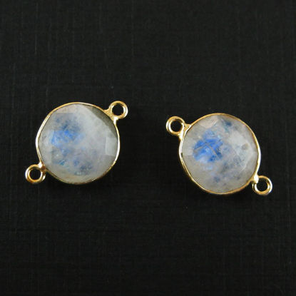 Wholesale Gold Over Sterling Silver Bezel Gemstone Link - Faceted Coin Shape - Moonstone - June Birthstone