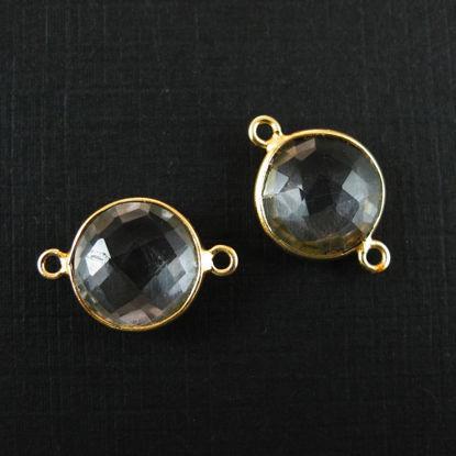 Wholesale Gold Over Sterling Silver Bezel Gemstone Link - Faceted Coin Shape - Crystal Quartz - April Birthstone
