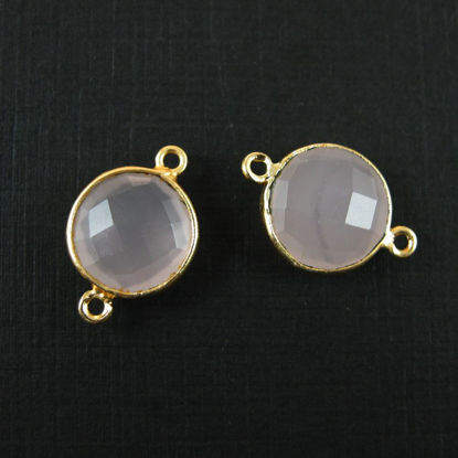 Wholesale Gold Over Sterling Silver Bezel Gemstone Link - Faceted Coin Shape - Pink Chalcedony