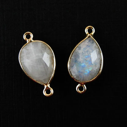 Wholesale Bezel Gemstone Links-Gold Plated Sterling Silver - 10x14mm Faceted Pear - Moonstone