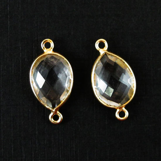Wholesale Bezel Gemstone Links - 10x14mm Faceted Pear - Crystal Quartz
