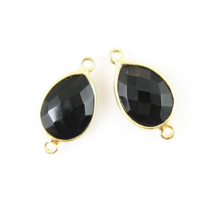 Wholesale Bezel Gemstone Links - 10x14mm Faceted Pear - Black Onyx