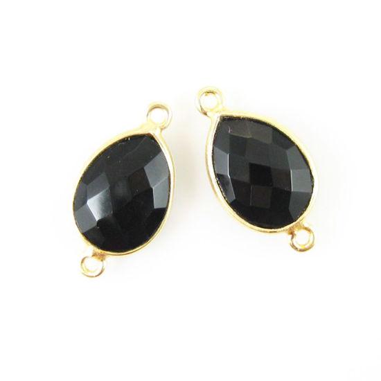 Wholesale Bezel Gemstone Links - 10x14mm Faceted Pear - Black Onyx