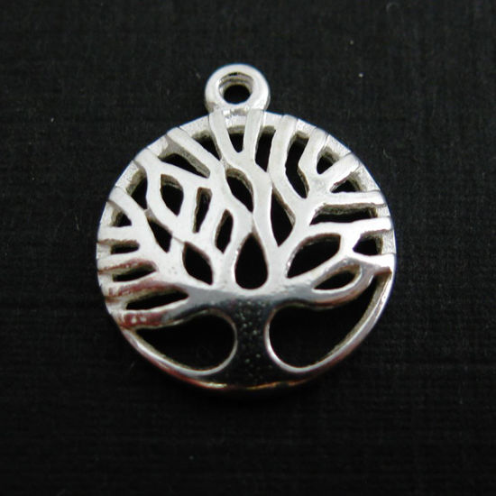Wholesale 925 Sterling Silver Charm -Tree Charm Pendant - 12mm
