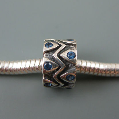 Wholesale European .925 Sterling Silver Charm Beads CZ Zigzag Design