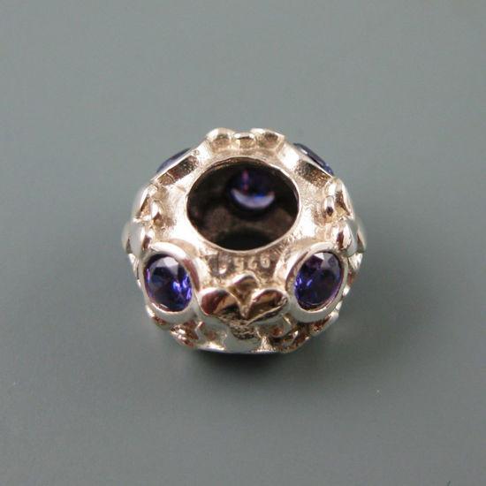 Wholesale European .925 Sterling Silver Charm Beads CZ Flower Pattern
