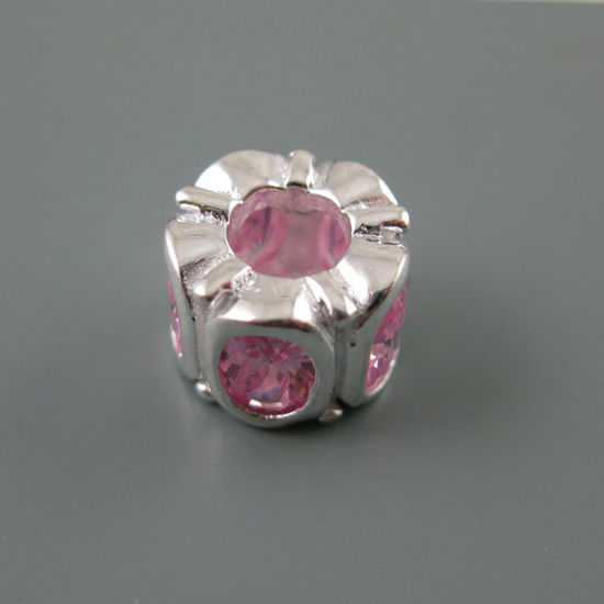 Wholesale European .925 Sterling Silver Charm Beads with Pink CZ Oval Stones
