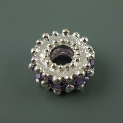 Wholesale European .925 Sterling Silver Charm Fancy Regal Charm Beads with Purple CZ Stones