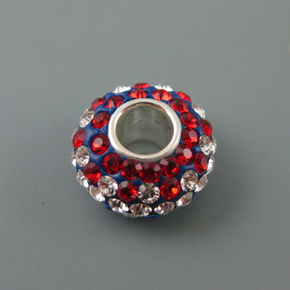 Wholesale European .925 Sterling Silver Charm Beads CZ Red, White and Blue