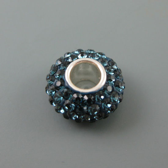 Wholesale European .925 Sterling Silver Charm Beads CZ Midnight Blue Stone