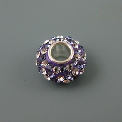 Wholesale European .925 Sterling Silver Charm Beads CZ Royal Purple and White Stones