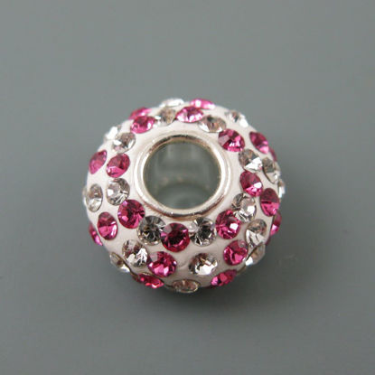 Wholesale European .925 Sterling Silver Charm Beads CZ Pink and Silver Stones