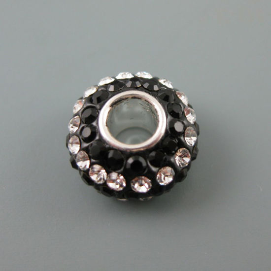 Wholesale European .925 Sterling Silver Charm Beads CZ Black and White Stones