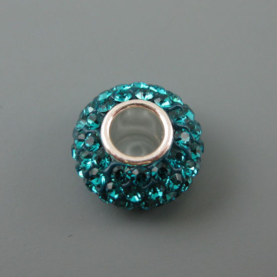 Wholesale European .925 Sterling Silver Charm Beads CZ Dark Turquoise Stones